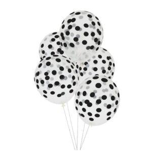bouquet de globos transparentes con lunares en negro inflados con helio
