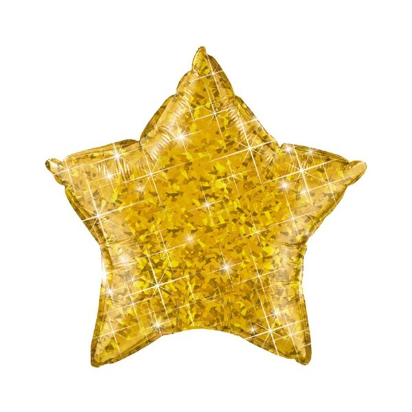 globo estrella pequeña dorada holográfica
