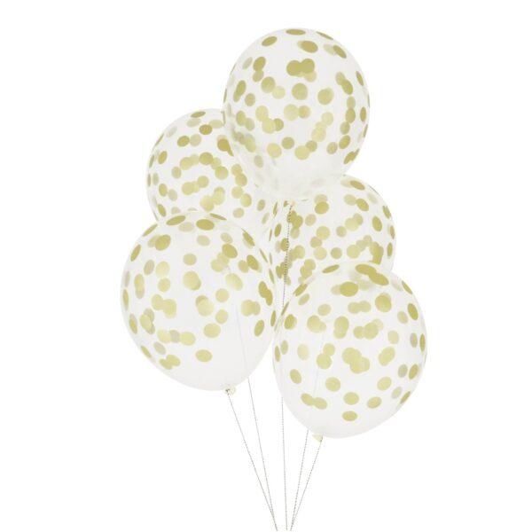 5 globos transparentes con lunares en dorado