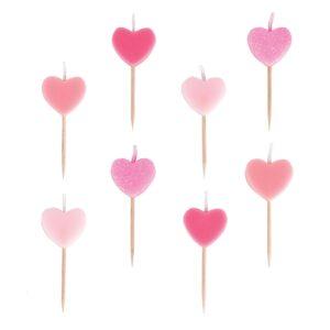 8 velas con forma de corazones para tarta